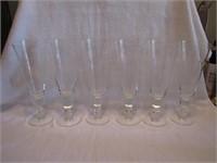 """6 Vtg Bamboo Etched Beer Glasses 8&3/4"""""""