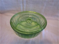 Large Green Depression Glass Refrigerator Jar