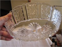"Ornate Glass Oval Bowl 9&1/2"" x 6&3/4"""