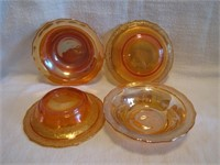 """4 Vintage Normandy Carnival Glass Berry Bowls 5"""""""
