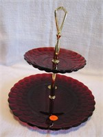 Vtg Anchor Hocking Red Bubble Glass 2 Tier