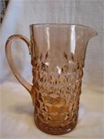 """Vtg Pink Depression Glass Cubist Pitcher 8&3/4"""""""
