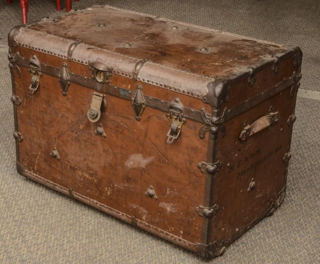 Large Antique Steamer Trunk The K And