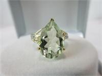 5.7CTTW GOLD GR. AMETHYST & DIAMOND RING