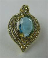 CR. BLUE TOPAZ & CR. DIAMOND PENDANT