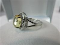 3.50CTTW CABACHON CITRINE & DIAMOND RING