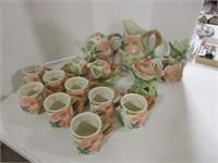 15 PC HUMMINGBIRD POTTERY TEA SET