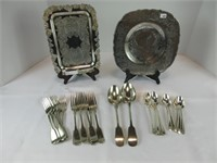 2 SILVER PLATE TRAYS W/ASSORTED FLATWARE