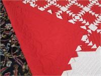 HANDMADE RED & WHITE GEOMETRIC PATTERN LAP QUILT