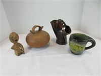 BOX: 4 ASST. POTTERY DECOR ITEMS