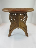 """12"""" CARVED WOOD FOOT STOOL"""
