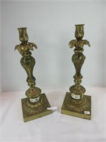 """PAIR: 14.5"""" BRASS CANDLE STICK HOLDERS"""