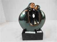 """6.75"""" BURNISHED COPPER MOTHER & CHILD STATUE"""