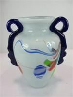 """7.5"""" HANDLED ART GLASS VASE"""