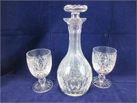 """TRAY: 10.5"""" UNMARKED CRYSTAL DECANTER & 2 GLASSES"""