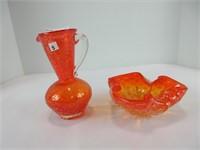 "6"" ORANGE ART GLASS PITCHER & CANDY DISH"