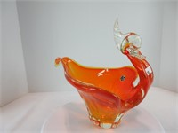 "10"" X 12"" CANADIAN ART GLASS SWAN BOWL"