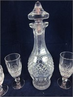 TRAY: 5 PCS WATERFORD CRYSTAL DECANTER & STEMWARE