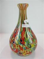 "11"" FLORAL MURANO GLASS VASE"