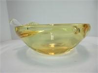 YELLOW APPLE CHALET ART GLASS ASH TRAY