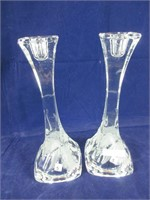 """TWO 10"""" ETCHED GLASS CANDLE STICK HOLDERS"""