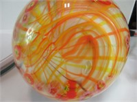 """10"""" FLORAL & STRIPPED MURANO GLASS VASE"""