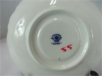 TWO COALPORT BLUE & WHITE TEA CUPS & SAUCERS