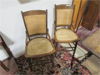 PAIR: CANE BOTTOM AND BACKED WOOD SIDE CHAIRS