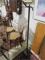 """55.5"""" TALL METAL BASE FROSTED SHADE FLOOR LAMP"""