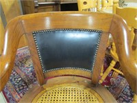 CANE BOTTOMED WOOD AND LEATHER BACKED OFFICE