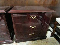 PAIR: 3 DRAWER CHERRY FINISH END TABLES