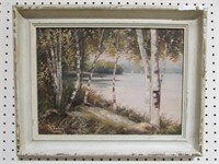 WILLIAM S. STANLEY, UNTITLED, LAKESIDE SCENE O/B