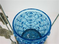 "11.5"" SILVER PLATE & CUT BLUE GLASS PICKLE CASTER"