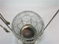 "12"" SILVER PLATE & CUT GLASS PICKLE CASTER"