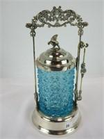 "10.5"" SILVER PLATE & CUT BLUE GLASS PICKLE CASTER"