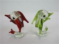 TRAY: 5 PCS ART GLASS MINI FIGURINES