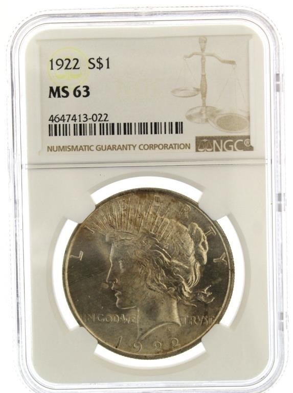 1922 MS63 Peace Silver Dollar | Interstate Auction Company