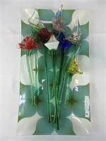 GLASS SERVING TRAY & 8 ART GLASS FLOWERS