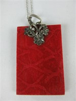 STERLING AND RED PENDANT NECKLACE
