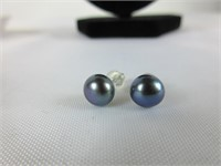 STERLING, BLACK PEARL & CZ NECKLACE AND EARRINGS