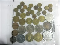 TRAY: FOREIGN COINS AND TOKENS