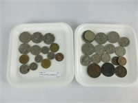 2 TRAYS: BRITISH, CARIBBEAN, & OTHER COINS