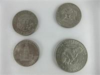 TRAY: LIBERTY DOLLAR & THREE HALF DOLLARS