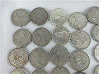 TRAY: APPROX. 40 CANADIAN QUARTERS