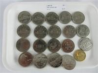 TRAY: 20 POST 1967 COMMEMORATIVE CANADIAN DOLLARS
