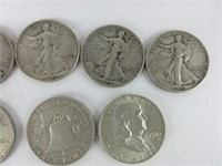 TRAY: 9 US LIBERTY HALF DOLLARS & 3 QUARTERS