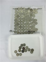LOOSE CANADIAN DIMES AND SHEET PRE 1967