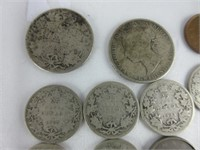 TRAY: EARLY CANADIAN SILVER AND OTHER COINS