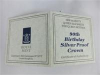1990 QUEEN ELIZABETH 90TH BIRTHDAY SILVER COIN