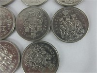TRAY: 14 POST 1967 50 CENT PIECES